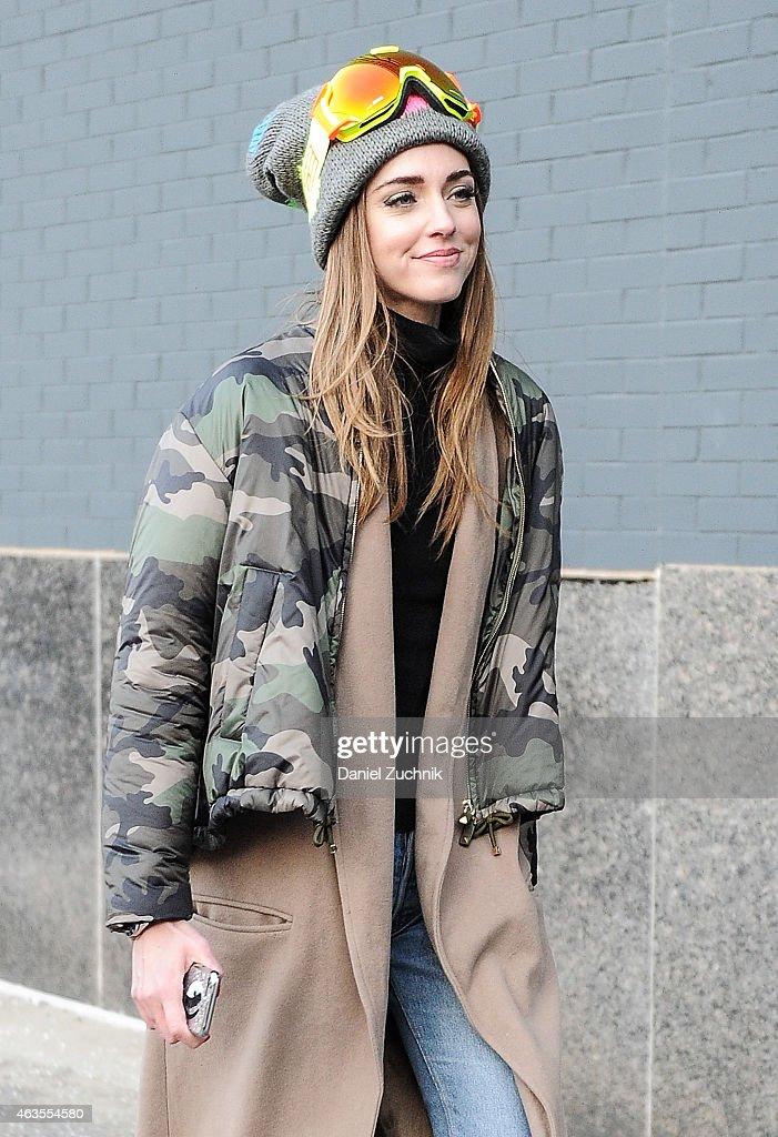 Chiara Ferragni is seen outside the DVF show on February 15, 2015 in New York City.