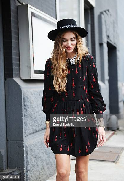 Chiara Ferragni is seen outside the DVF show wearing a Saint Laurent dress during New York Fashion Week 2016 on September 13 2015 in New York City