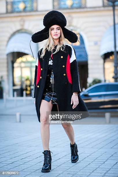 Chiara Ferragni is seen outside the Louis Vuitton show during Paris Fashion Week Spring Summer 2017 on October 5 2016 in Paris France