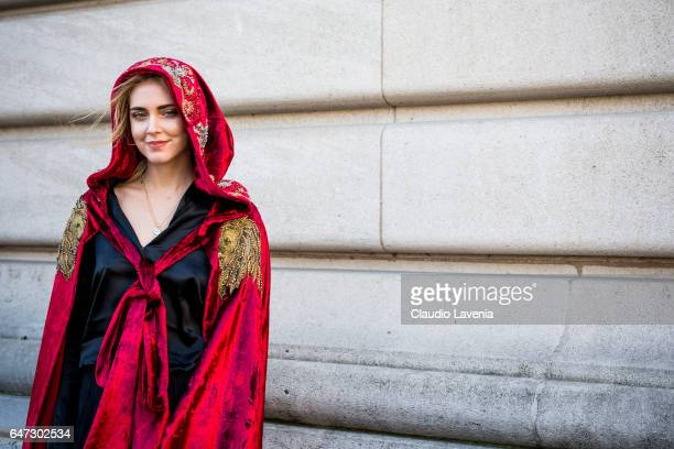 Chiara Ferragni is seen wearing a coat from Alberta Feretti in the streets of Paris before the Chloe show during Paris Fashion Week Womenswear...