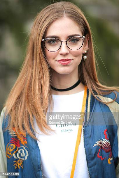 Chiara Ferragni is wearing a Chiara Ferragni top and a Louis Vuitton bag before the Giambattista Valli show during Paris Fashion Week Womenswear Fall...