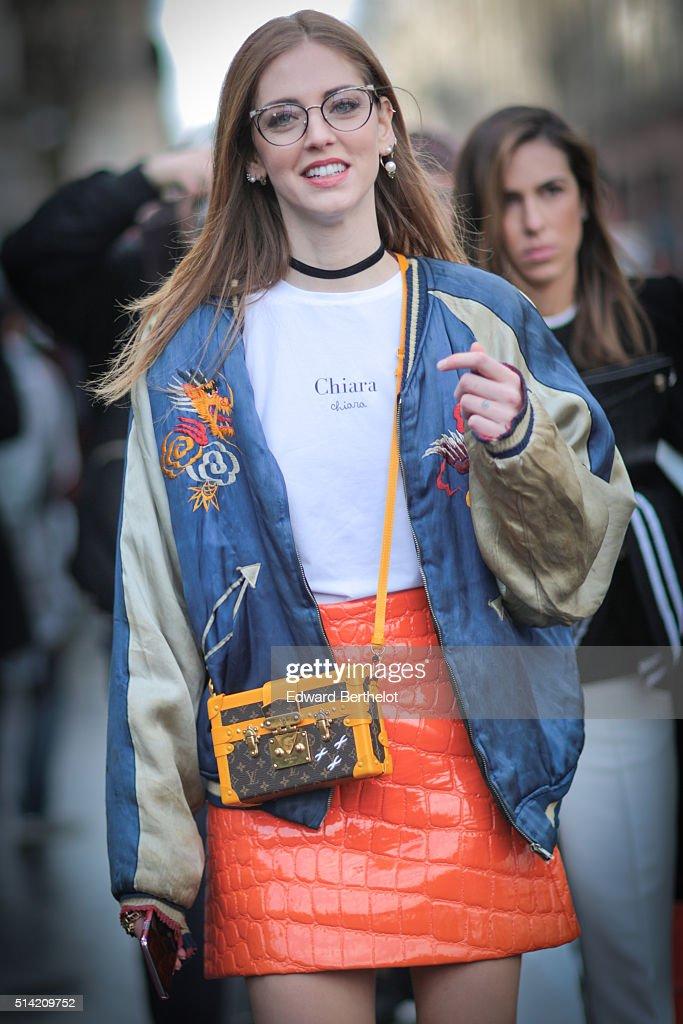 Chiara Ferragni is wearing a Chiara Ferragni top and a Louis Vuitton bag before the Giambattista Valli show during Paris Fashion Week Womenswear Fall...