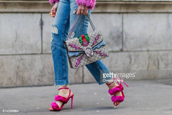 Chiara Ferragni is wearing pink Marco De Vincenzo heel sandals The Blonde Salad for Levi's ripped jeans Gucci bag pink Philosophy fur coat vintage...