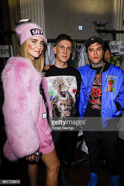 Chiara Ferragni Jeremy Scott and Fedez are seen backstage ahead of the Moschino show during Milan Men's Fashion Week Fall/Winter 2017/18 on January...