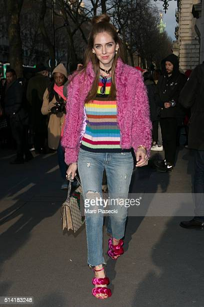 Chiara Ferragni leaves the 'Hermes' fashion show on March 7 2016 in Paris France