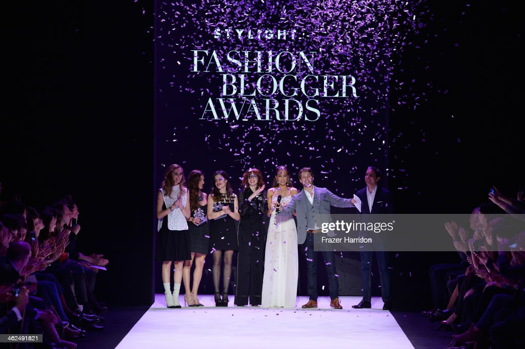 <a gi-track='captionPersonalityLinkClicked' href=/galleries/search?phrase=Chiara+Ferragni&family=editorial&specificpeople=6755910 ng-click='$event.stopPropagation()'>Chiara Ferragni</a>, Negin Mirsalehi, Aida Domenech, Louise Ebel, Fadela Mercheri, <a gi-track='captionPersonalityLinkClicked' href=/galleries/search?phrase=Raul+Richter&family=editorial&specificpeople=5580353 ng-click='$event.stopPropagation()'>Raul Richter</a> and Benjamin Guenther attend the Stylight Fashion Blogger Awards at Brandenburg Gate on January 13, 2014 in Berlin, Germany.