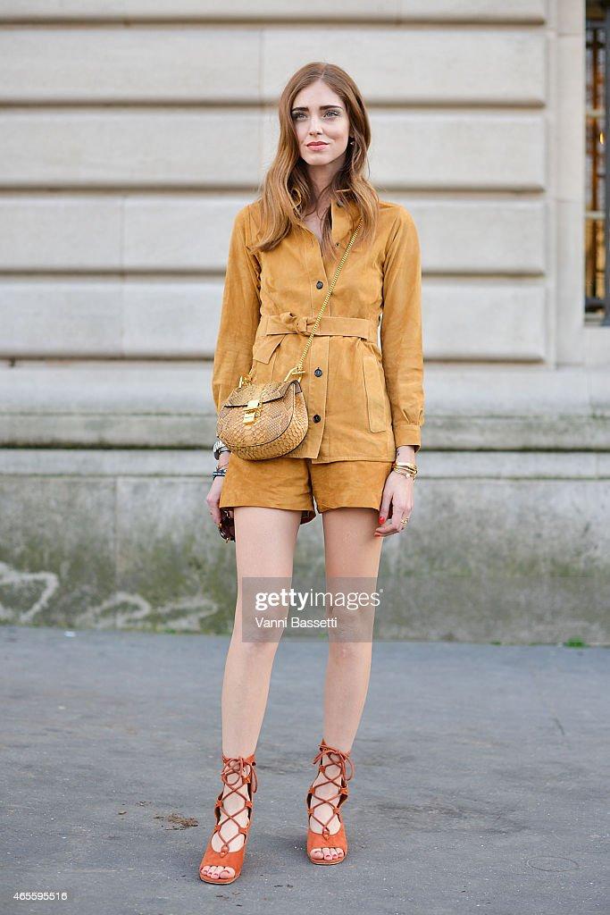 Chiara Ferragni poses wearing a Chloe total look on Day 6 of Paris Fashion Week Womenswear FW15 on March 8 2015 in Paris France