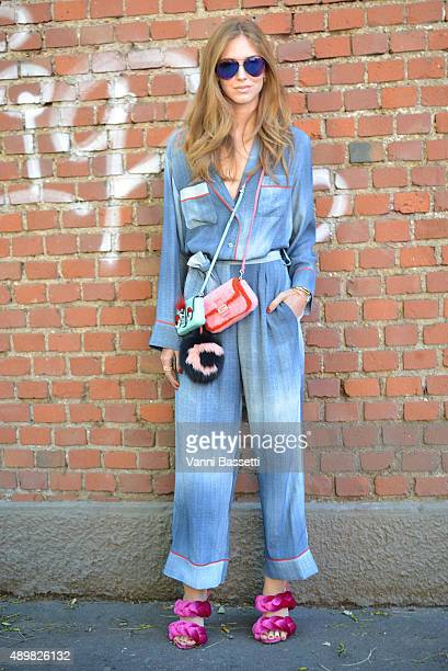 Chiara Ferragni poses wearing a Fendi dress and bags before the Fendi show during the Milan Fashion Week Spring/Summer 16 on September 24 2015 in...