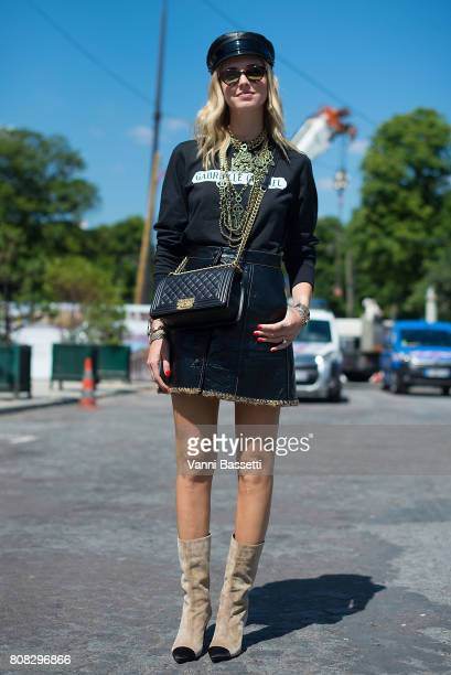 Chiara Ferragni poses wearing Chanel after the Chanel show at the Grand Palais during Paris Fashion Week Haute Couture FW 17/18 on July 4 2017 in...