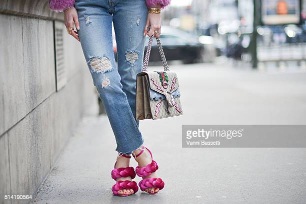Chiara Ferragni poses wearing Marco de Vincenzo shoes and Gucci bag after the Hermes show during Paris Fashion Week FW 16/17 on March 7 2016 in Paris...
