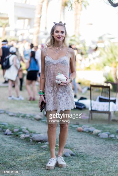 Chiara Ferragni wearing a sheer dress at the Revovle Festival during day 3 of the 2017 Coachella Valley Music Arts Festival Weekend 1 on April 16...