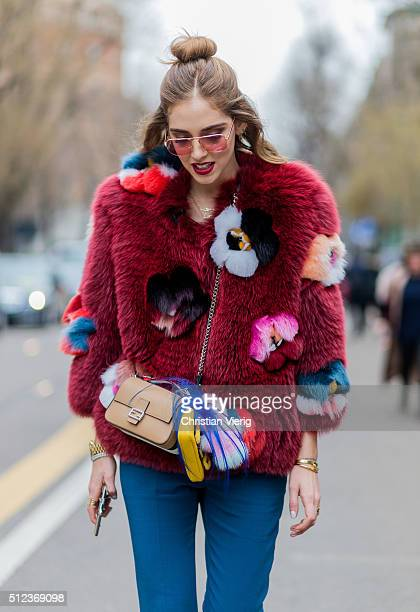 Chiara Ferragni wearing Fendi jacket and bag seen outside Fendi during Milan Fashion Week Fall/Winter 2016/17 on February 25 in Milan Italy