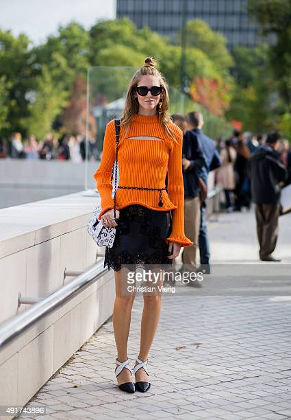 Chiara Ferragni wearing Louis Vuitton at Louis Vuitton during the Paris Fashion Week Womenswear Spring/Summer 2016 on Oktober 7 2015 in Paris France