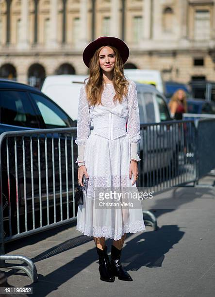 Chiara Ferragni wearing Philosophy dress during the Paris Fashion Week Womenswear Spring/Summer 2016 on October 3 2015 in Paris France