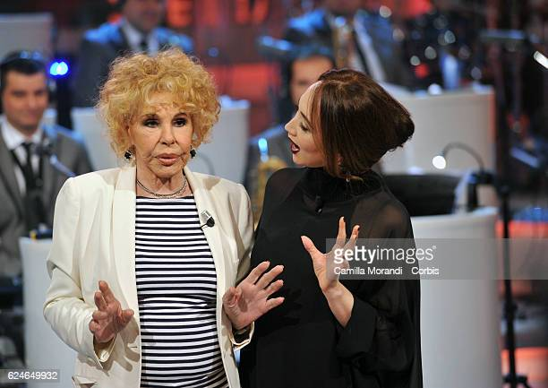Chiara Francini and Ornella Vanoni attend 'Domenica In' tv show on November 20 2016 in Rome Italy