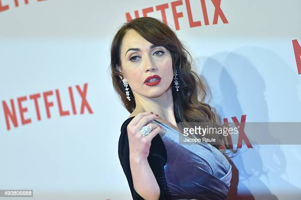 Chiara Francini attends a red carpet for the Netflix launch at Palazzo Del Ghiaccio on October 22 2015 in Milan Italy