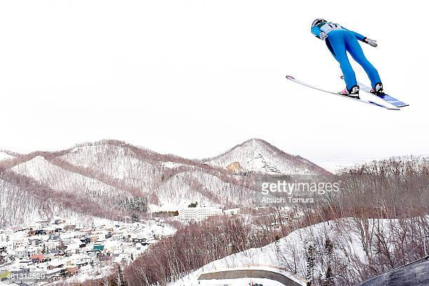 Chiara Hoelzl of Austria competes in the normal hill individual qualification round during the FIS Women's Ski Jumping World Cup Sapporo at...