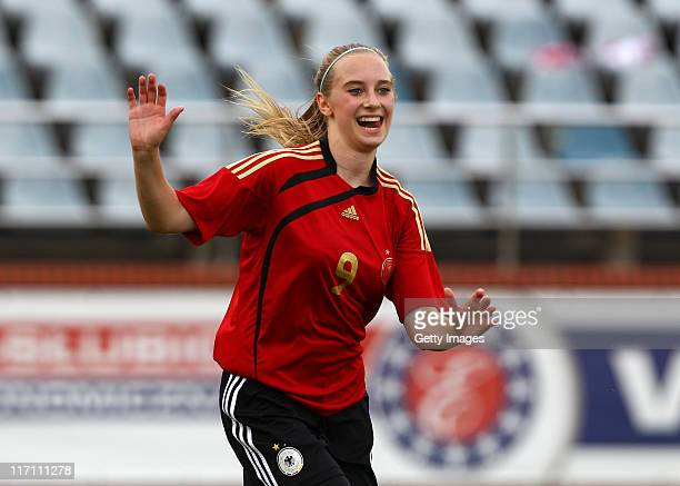 Chiara Loos of Germany celebrates after scoring her team's goal during the U15 Women International Friendly match between Poland and Germany at the...