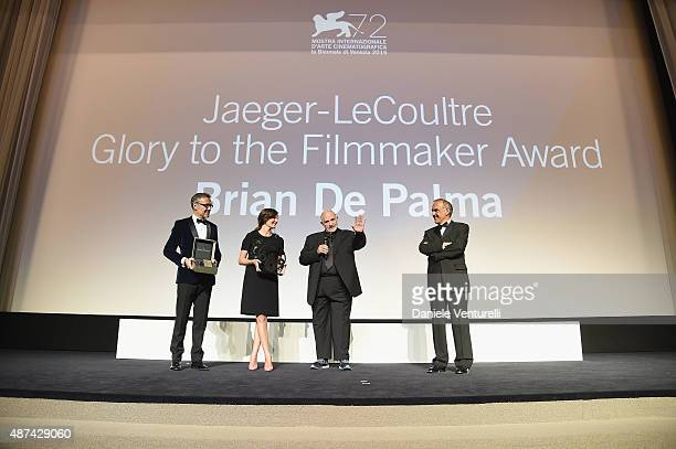 Chiara Mastroianni and Brian De Palma on stage with their awards with Laurent Vinay and Venice Film Festival director Alberto Barbera attend the...