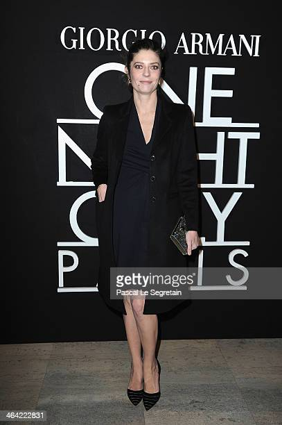 Chiara Mastroianni attends the Giorgio Armani Prive show as part of Paris Fashion Week Haute Couture Spring/Summer 2014 on January 21 2014 in Paris...