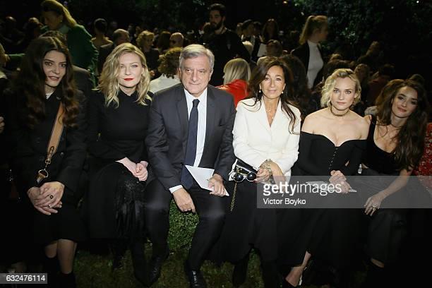 Chiara Mastroianni Kirsten Dunst Sidney Toledano Katia Toledano Diane Kruger and Charlotte Le Bon attend the Christian Dior Haute Couture Spring...