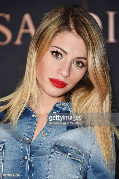 Chiara Nasti attends a photocall for 'Trussardi Jeans Celebrates The New IT Bag' party on November 17 2015 in Milan Italy