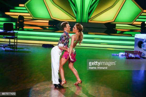 Chiara Ohoven and Vadmin Garbuzov perform on stage during the 2nd show of the tenth season of the television competition 'Let's Dance' on March 24...