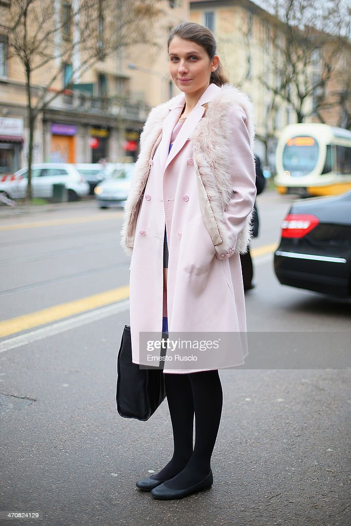 Chiara Pizzolato wears Fendi coat and Fendi shoes outside the Fendi Fashion Show on day 2 of Milan Fashion Week Womenswear Autumn/Winter 2014 on February 20, 2014 in Milan, Italy.