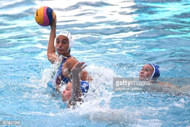 Chiara Tabini of Italy shoots during the Women's Water Polo Quarter final against Russia on day eleven of the Budapest 2017 FINA World Championships...