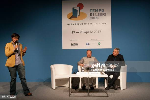 Chiara Valerio Alberto Garlini and Maurizio De Giovanni attend Tempo Di Libri Book Show on April 22 2017 in Milan Italy