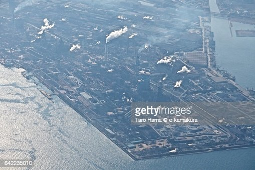 Chiba industry area aerial view from airplane