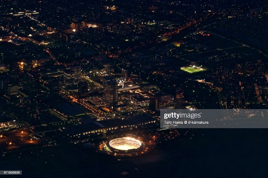 Chiba Makuhari area night aerial view from airplane : ストックフォト