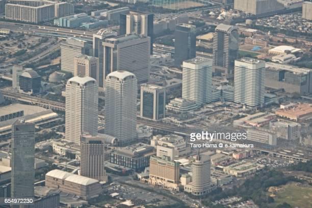 Chiba Makuhari Messe aerial view from airplane