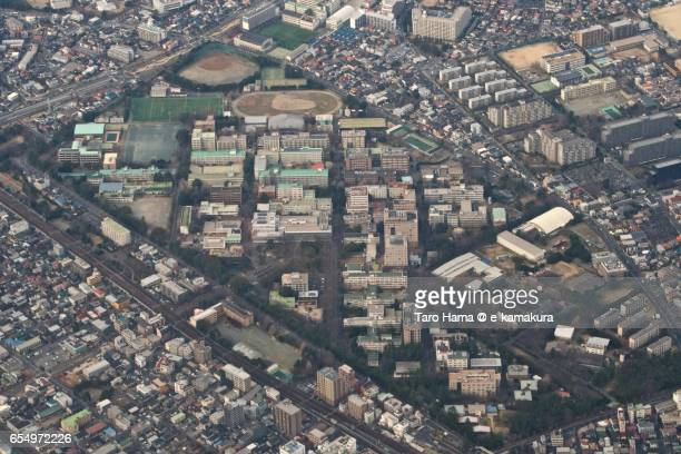 Chiba University Yayoi main campus aerial view from airplane