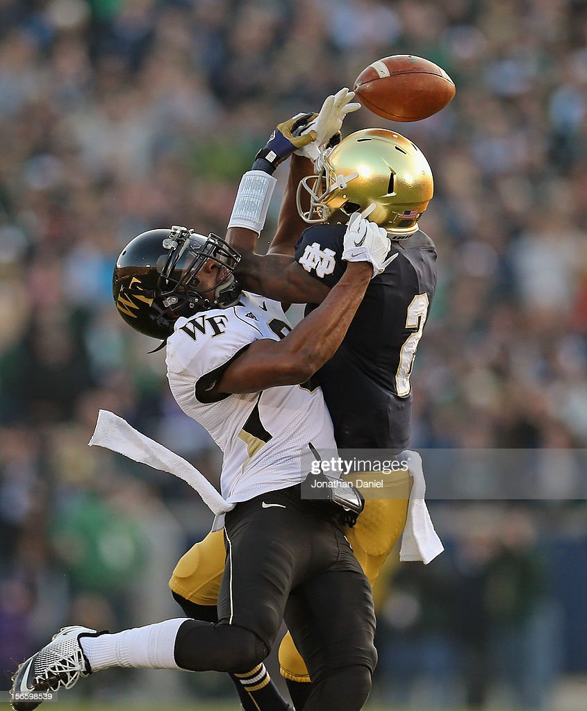 Chibuikem Okoro #6 of the Wake Forest Demon Deacons breaks up a pass intended for Chris Brown #2 of the Notre Dame Fighting Irish at Notre Dame Stadium on November 17, 2012 in South Bend, Indiana.