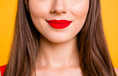 Chic charm pleasure lifestyle person concept. Cropped close up half faced view photo portrait of beautiful  ideal perfect color lipstick isolated background