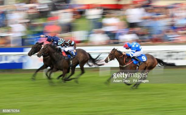 Chica de la Noche ridden by Jim Crowley wins the Bill Garnett Memorial Fillies' Handicap Stakes at Salisbury Racecourse