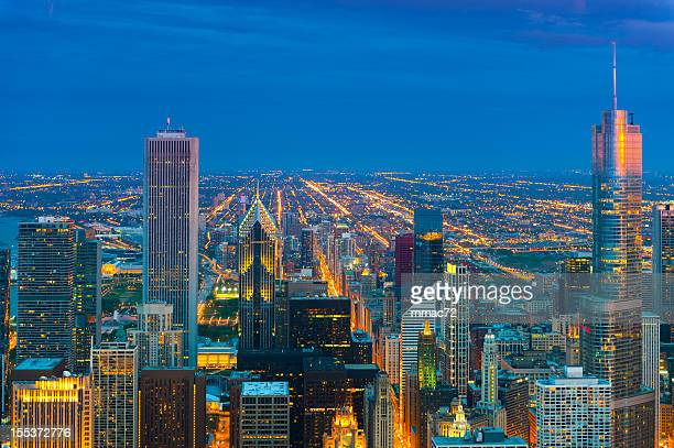 Chicago areal view taken at twilight