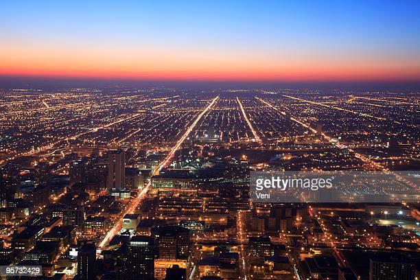Chicago at night, Illinois