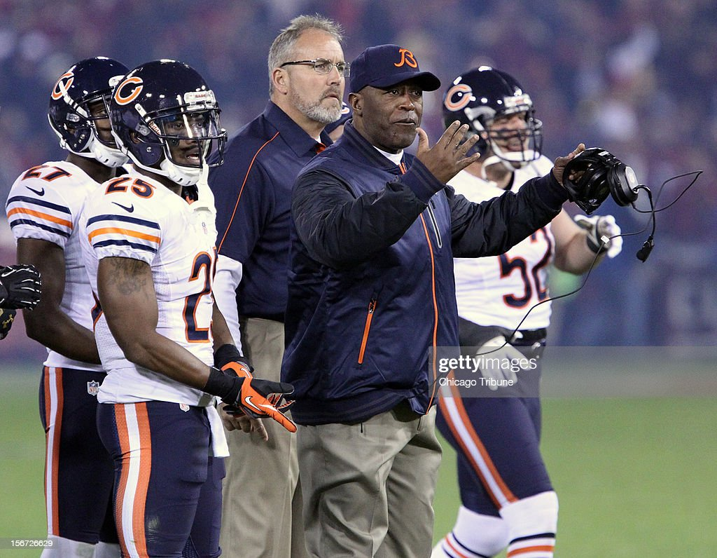 Chicago Bears coach Lovie Smith calls his players to huddle at the start of the game at Candlestick Park on Monday, November 19, 2012, in San Francisco, California.