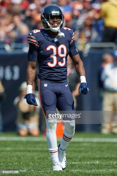 Chicago Bears defensive back Eddie Jackson looks on during an NFL football game between the Atlanta Falcons and the Chicago Bears on September 10...