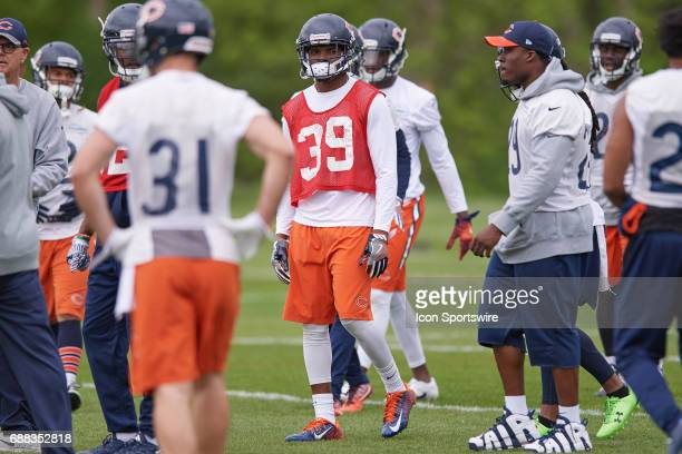 Chicago Bears defensive back Eddie Jackson participate in drills during team OTA workouts on May 23 2017 at Halas Hall in Lake Forest IL