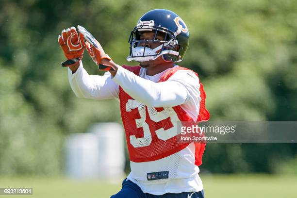 Chicago Bears defensive back Eddie Jackson participates in drills during the Bears team OTA workouts on June 06 2017 at Halas Hall in Lake Forest IL