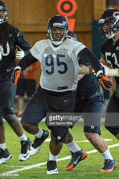 Chicago Bears defensive tackle Ego Ferguson in action during the Chicago Bears Rookie minicamp at Hallas Hall in Lake Forest IL