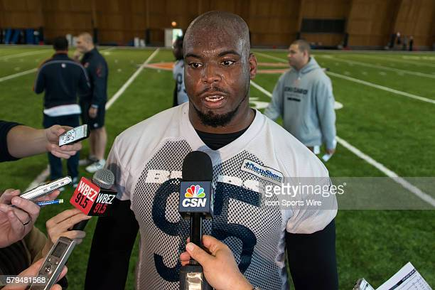 Chicago Bears defensive tackle Ego Ferguson talks to media in action during the Chicago Bears Rookie minicamp at Hallas Hall in Lake Forest IL