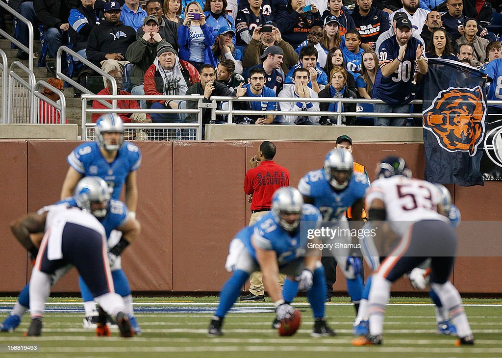Chicago Bears fans cheer on their defense while playing the Detroit Lions at Ford Field on December 30, 2012 in Detroit, Michigan. Chicago won the game 26-24.