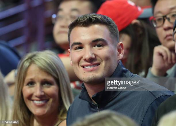 Chicago Bears first round draft choice the number 2 pick in the draft Mitchell Trubisky from UNC sits in the crowd during the Boston Celtics and...