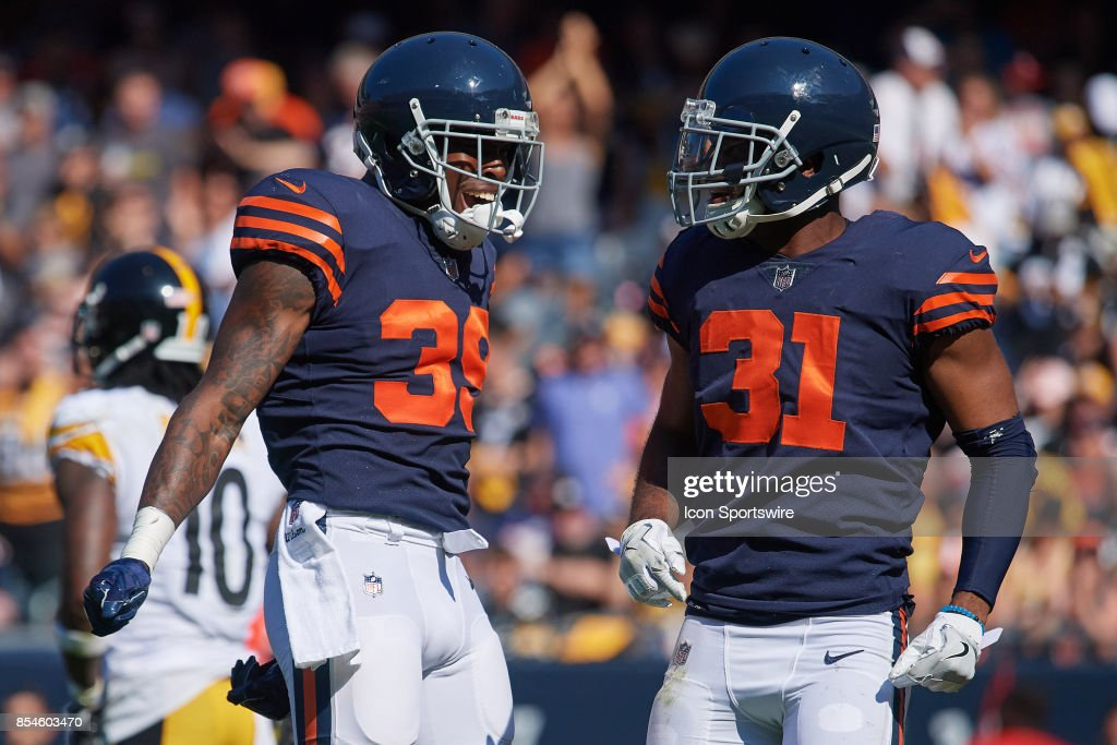 8f0708b0883 ... Chicago Bears free safety Eddie Jackson (39) celebrates with Chicago  Bears cornerback Marcus Cooper ...