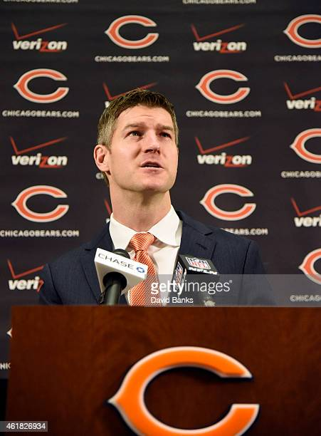 Chicago Bears general manager Ryan Pace introduces new head coach John Fox on January 19 2015 at Halas Hall in Lake Forest Illinois