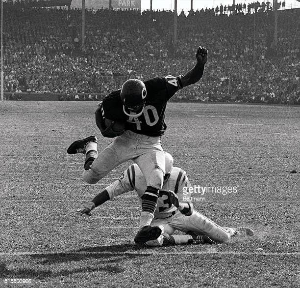 Chicago Bears HB Gale Sayers eludes tackle of Baltimore Colts DB Lenny Lyles and runs 10 yards to touchdown during the fourth quarter of the game...